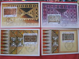 4 Cartes Premier Jour - LES TAPAS - MATA UTU - 14 Avril 2001 - Illustrateur : VERET LEMARINIER - Wallis Et Futuna
