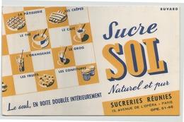 """Buvard """" Sucre Sol """" ( 21 X 13.5 Cm ) Pliures, Rousseurs - Blotters"""