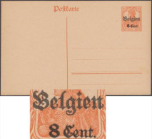 Belgique 1917. Carte Provisoire Avec Double Surcharge (n° 14). Surcharges Très éloignées - German Occupation