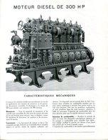 CARACTERISTIQUES MECANIQUES DU MOTEUR DIESEL RENAULT 300 CV. 2 DOCUMENTS + 1 PHOTO.MOTEUR DE BATEAU..? - Vieux Papiers