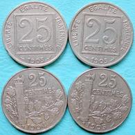 France - 25 Centimes Patey 1903 1904 1905 Lot 4 Pièces De Monnaie - Francia