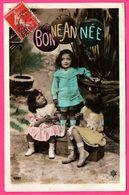 Fantaisie - 3 Fillettes Sous Des Lampions Bonne Année - Fille - Enfants - 1909 - Edit. RUBIS P.C. 4357 - Colorisée - Enfants