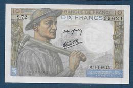 Billet 10 F  Mineur Du 13 - 1 - 1944 - 10 F 1941-1949 ''Mineur''