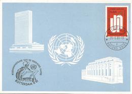 United Nations 1981 Geneve Erasmus Rotterdam Humanist Protestant Reformation Blue Card - Maximumkaarten