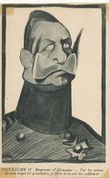Caricature Kaiser Guillaume II Empereur Krach Des Coiffeurs Trace Papier Transparent Coins - Satira