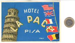 ETIQUETA DE HOTEL  -  HOTEL LA PACE  -PISA  -ITALIA - Hotel Labels