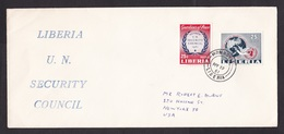 Liberia: Cover To USA, 1961, 2 Stamps, Member UN Security Council, Peace Dove, Logo, First Day? (traces Of Use) - Liberia