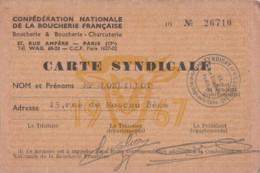 Vieux Papiers - Carte Syndicale - Confédération Boucherie Française Paris 75 - M. Loeillot Rue De Moscou - Rue Ampère - Altri