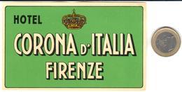 ETIQUETA DE HOTEL  -  HOTEL CORONA D'ITALIA  -FIRENZE  -ITALIA - Hotel Labels