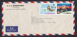 Liberia: Airmail Cover To USA, 1976, 2 Stamps, Winter Olympics, Ski Sports, Space, Apollo, Rare Real Use (traces Of Use) - Liberia