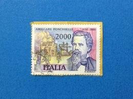 1986 AMILCARE PONCHIELLI ITALIA FRANCOBOLLO USATO STAMP USED - 6. 1946-.. Republic