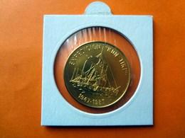 Kuba / Cuba, 1 Peso Expedition CON TIKI, 1987, Vergoldet, Coin Gold-plated, Moneda Dorada - Cuba