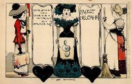 Schnug, Leo Neujahr  Künstlerkarte I-II (fleckig) Bonne Annee - Künstlerkarten