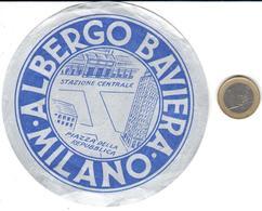 ETIQUETA DE HOTEL  -  ALBERGO BAVIERA  -MILANO  -ITALIA - Hotel Labels