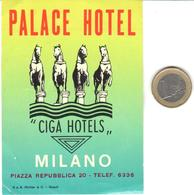 ETIQUETA DE HOTEL  -  PALACE HOTEL  -MILANO  -ITALIA - Hotel Labels