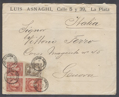 ARGENTINA. 1891 (3 Ene). La Plata, Subestacion Central - Italy, Genoa (19 Jan). Env Fkd 5c X3 1c, 16c Rate + Scarce Stam - Argentinien