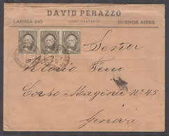 ARGENTINA. 1892 (12 March). BA - Italy, Genoa. Printed Matter Rate Unsealed Fkd Env Bearing 1c Brown Horiz Strip Of Thre - Argentinien