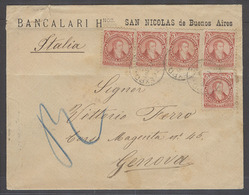 ARGENTINA. 1892 (21 March). San Nicolas - Italy, Genoa (29 April). Printed Env Bearing 5c Red X5 Cds. Exceptional Multip - Argentine