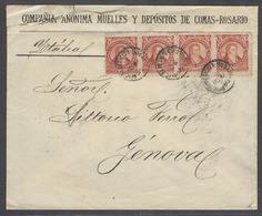 ARGENTINA. 1890 (19 Dec). Rosario - Italy, Genoa (18 Jan 91). Printed Env Bearing 5c Red Horiz Strip Of 4 Cds A Very Sca - Argentine