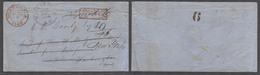 GUATEMALA. 1860 (8 June). Guat City - USA, Wash DC Fwded To NY. Franco Cash Paid Env Red Cachet Via NY Steamship Arrival - Guatemala