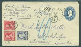 USA - Stationery. 1882 (24 Oct). Collegeville, Minnesota - Sweden, Stockholm (9 Nov). 5c Blue Stat Env 3 Adtls Taxed Swe - United States