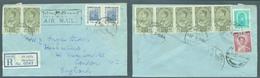 SIAM. 1963 (2506, 18 MArch). Maechan - London, UK. Reg Arm Multifkd Env Incl Malaria Eradication Stamps Pair. Fine. - Siam