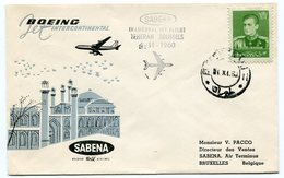 RC 12630 BELGIQUE 1960 FFC IRAN TEHERAN - BRUSSELS  - SABENA 1ER VOL TB - Poste Aérienne