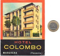 ETIQUETA DE HOTEL  -  HOTEL COLOMBO -MARGHERA  -VENEZIA  -ITALIA - Hotel Labels