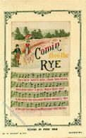 Seide Gewebt Comin Thro'the Rye Lied Künstlerkarte I-II Soie - Ansichtskarten