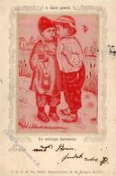 Seide Gewebt Kinder Künstlerkarte 1899 I-II Soie - Ansichtskarten