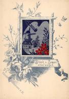 Seide Gewebt Windmühle Künstlerkarte I-II Soie - Ansichtskarten