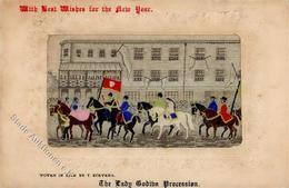 Seide Großbritannien The Lady Godiba Procession Künstlerkarte I-II Soie - Ansichtskarten