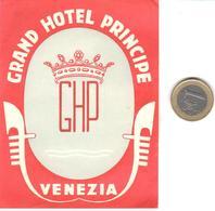 ETIQUETA DE HOTEL  -GRAND HOTEL PRINCIPE -VENEZIA  -ITALIA - Hotel Labels