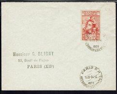 """FR - Timbre """"Aide Aux Enfants Des Chomeurs""""  N° 428 Seul Sur Enveloppe De Paris - B/TB - - Poststempel (Briefe)"""