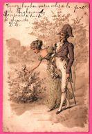 Fantaisie - Femme En Longue Robe Et Homme Avec Bicorne Promenant Dans Les Allées - Fleurs - Napoléon - 1904 - Colorisée - Autres