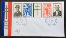 V239 Colombey FDC Premier Jour Bande Général De Gaulle 1695 à 1698 9/11/1971 - 1970-1979