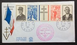 V240 Lille FDC Premier Jour Bande Général De Gaulle 1695 à 1698 9/11/1971 - 1970-1979