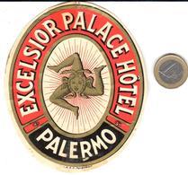 ETIQUETA DE HOTEL  -EXCELSIOR PALACE HOTEL  -PALERMO  -ITALIA - Etiquetas De Hotel