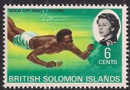 British Solomon Islands 1968 QE2 6ct Shell Diving Umm SG 170 ( K1366 ) - British Solomon Islands (...-1978)