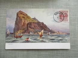 CPA ILLUSTREE GIBRALTAR TIMBRE - Gibraltar