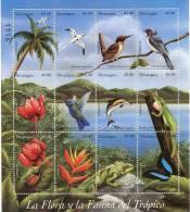 Lote 2267, Nicaragua, 1998, Pliego, Sheet, Fauna, Flora, Bird, Butterfly, Reptile, Dolphin, Heliconia - Nicaragua
