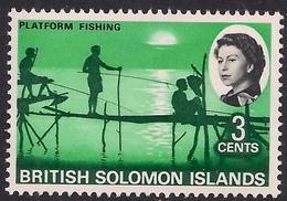 British Solomon Islands 1968 QE2 3ct Platform Fishing Umm SG 168 ( L1053 ) - British Solomon Islands (...-1978)