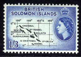 British Solomon Islands 1956 - 63 QE2 1/-3d Map Of Islands MM SG 91b ( B28 ) - British Solomon Islands (...-1978)