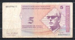 622-Bosnie-Herzégovine Billet De 5 Convertible Maraka 1998 B849 - Bosnia And Herzegovina