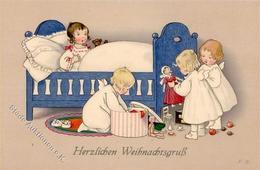 Baumgarten, Fritz Kinder Puppe Teddi Weihnachten Künstlerkarte I-II Noel - Baumgarten, F.