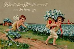 Glückwunsch Elfen Blumen  Prägedruck I-II - Baumgarten, F.