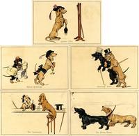Dackel Personifiziert Lot Mit 5 Künstler-Karten I-II (fleckig) - Hunde