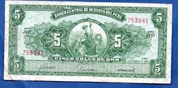 Pérou   5 Soles De Oro   23/2/1968    - état  TB+ - Peru