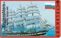 TARJETA DE DINAMARCA CON UN BARCO DE TIRADA 3500 (SHIP)  KRUZENSHTERN DE RUSIA - Dinamarca