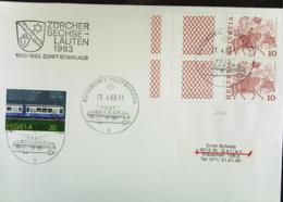 Schweiz: Brief Mit Freimarken Aus Markenheft In E- Und D-Zähnung, Stpl. Aus Automobil-Postbüro Vom 17.4.83 Knr: 1101 (2) - FDC